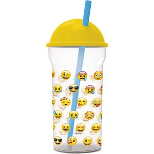 Emoji smiles goblet with straw