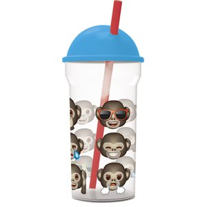 Emoji monkeys goblet with straw