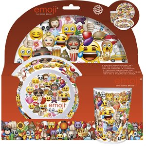Emoji plate and cup 3 pcs set
