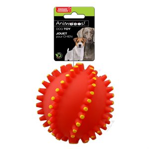 Vinyl dog toys ; spiked ball with squeaker ; 3.54""